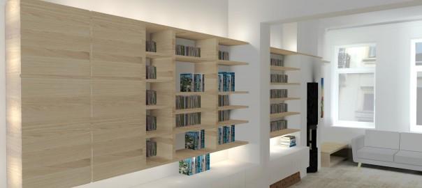 Etude pour la réalisation d'une bilbiothèque, d'un espace design pour le living.