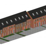 Axonométrie d'un ensemble de maisons unifamiliale à construire.