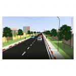 Illustration 3D pour une voirie secondaire. Route à fort passage en Afrique.